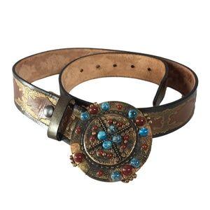 Leatherock Belt Size Medium 34 Brown Blue